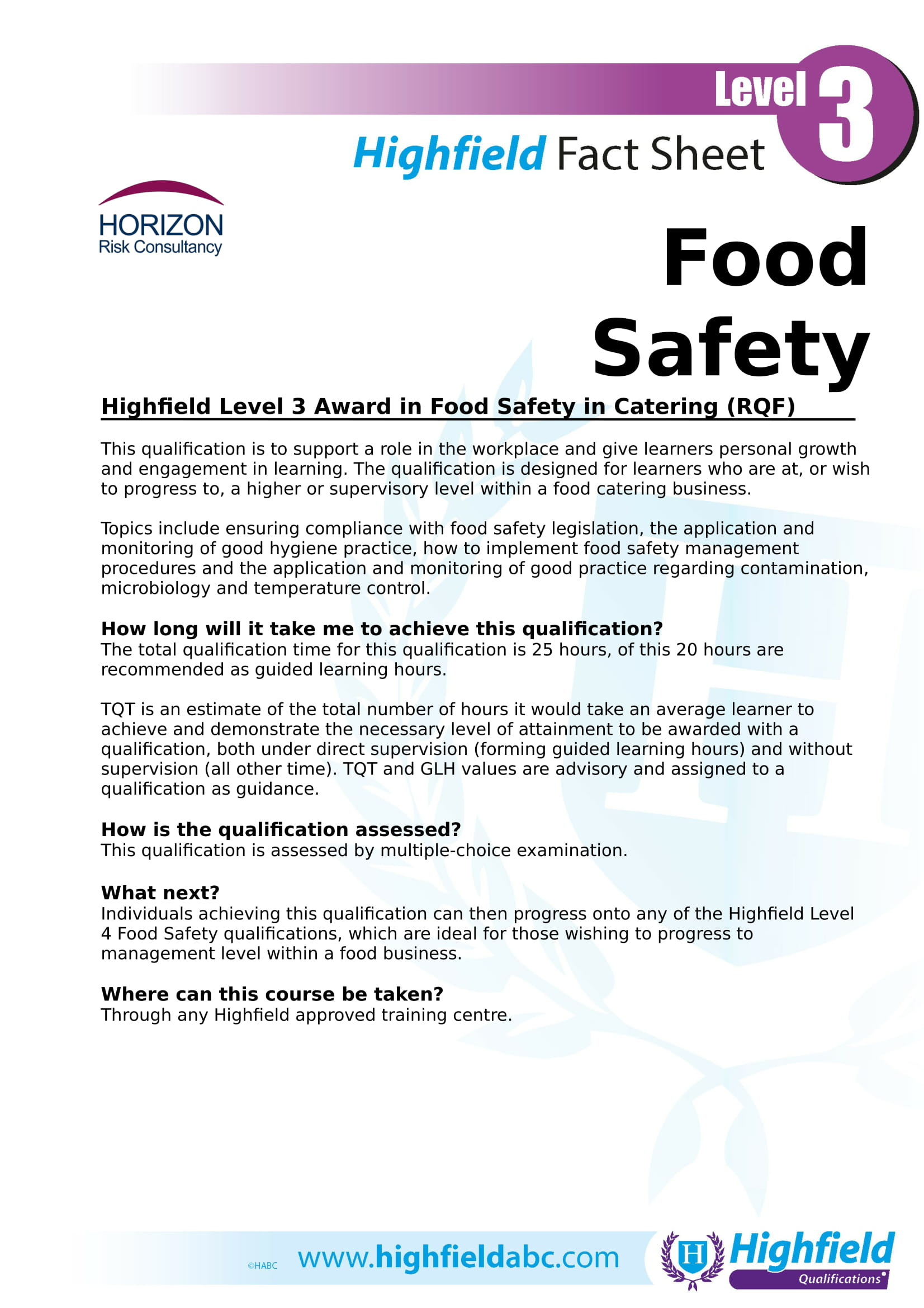 Highfield Level 3 Award in Food Safety in Catering (RQF) - 3M Buckley  Innovation Centre in Huddersfield