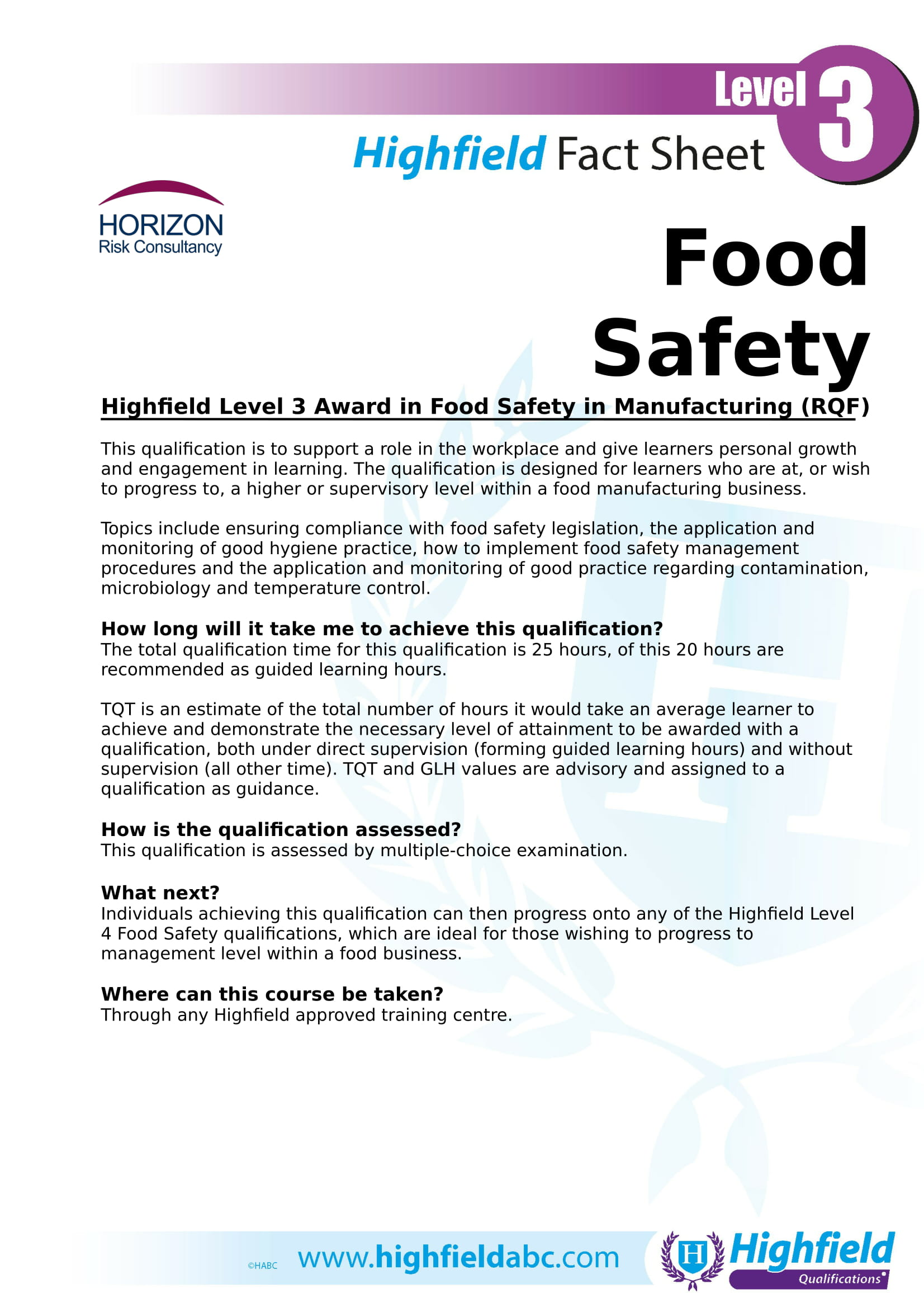 Highfield Level 3 Award in Food Safety in Manufacturing (RQF