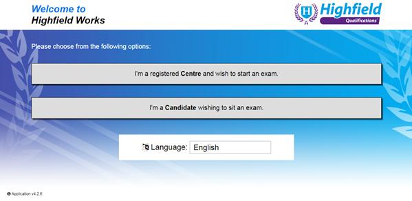 Highfield e-assessment screen shot